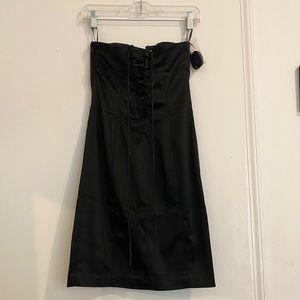 bebe strapless black mini dress